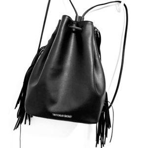 Victoria Secret drawstring faux leather backbag